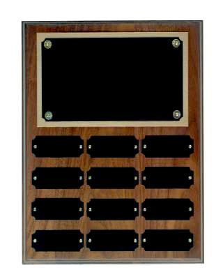 Step Edge Genuine Walnut 12 Plate Perpetual Plaque