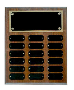Step Edge Genuine Walnut 18 Plate Perpetual Plaque