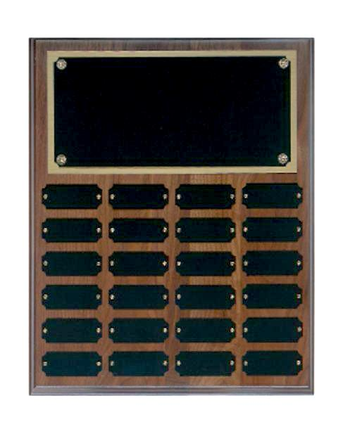 Step Edge Genuine Walnut 24 Plate Perpetual Plaque