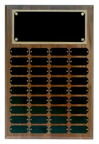 Step Edge Genuine Walnut 36 Plate Perpetual Plaque