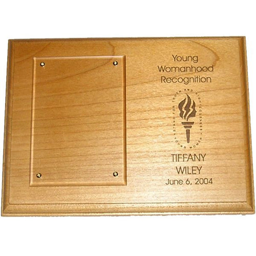 Young Womanhood Recognition Plaque - Alder Wood