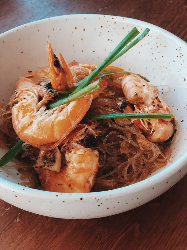 Prawns & Mung Bean Noddles in Clay Pot