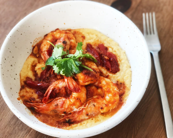Tomato Roasted Shrimp Over Creamy Polenta