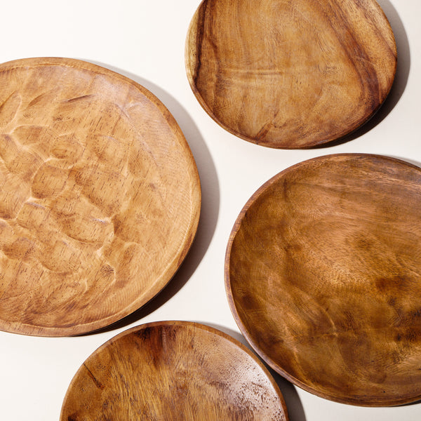 "Set of 4 12"" Astor Wood Plates"