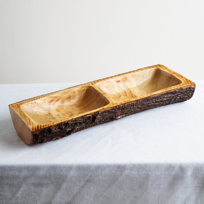 Acadian Bark 2 Section Rectangle Tray