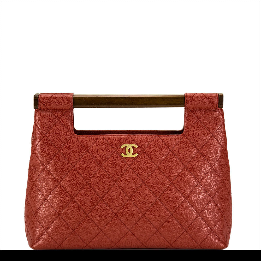 Deep Red Caviar Quilted Clutch Tote