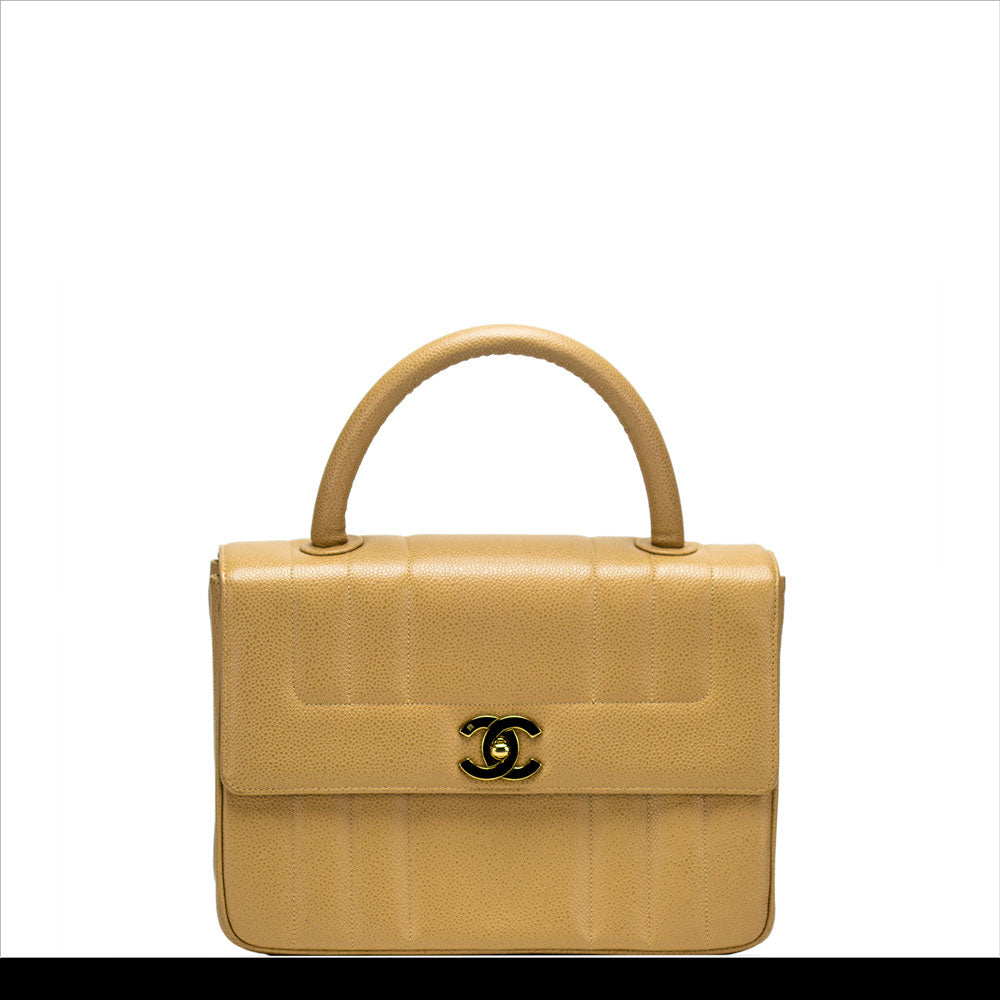 Beige Top Handle Flap