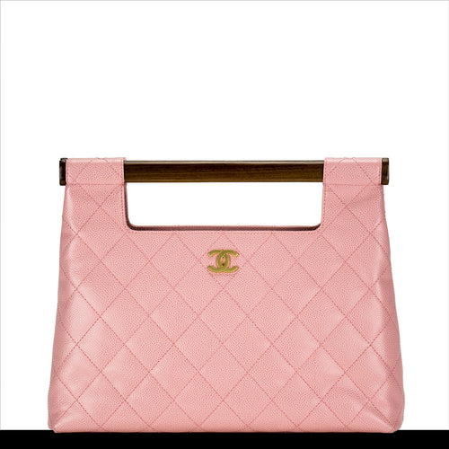 Pink Caviar Quilted Clutch Tote