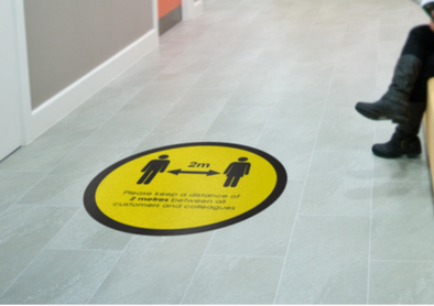 2m Floor Sticker: Social Distancing Yellow