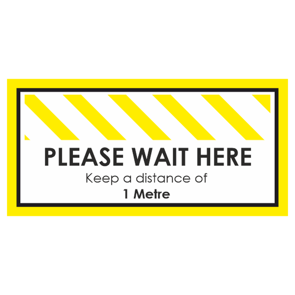Floor Sticker: Wait Here Yellow