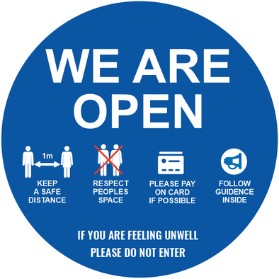 We Are Open Circle Blue Sticker