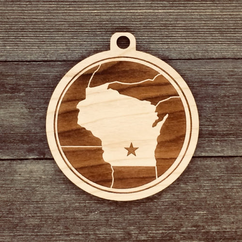 Wisconsin Map Medallion