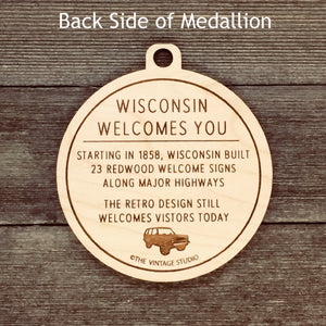 Wisconsin Retro Welcome Signs Medallion