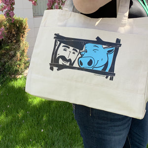 Paul Bunyan and Babe Large Pocket Tote