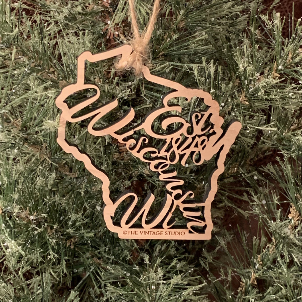 Wisconsin Filigree State Ornament