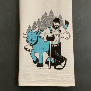 Paul Bunyan and Babe the Blue Ox Flour Sack Towel