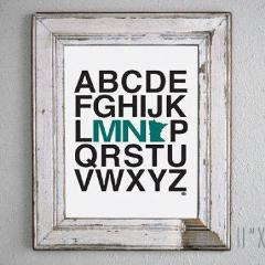 Prints-Minnesota Alphabet    (4 Color Choices)