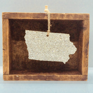 Iowa Glass Glitter Ornament
