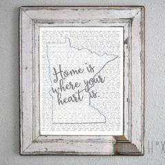 Print-  Minnesota Home Is Where Your Heart Is