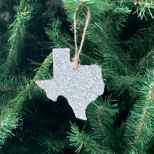 Texas Glass Glitter Ornament