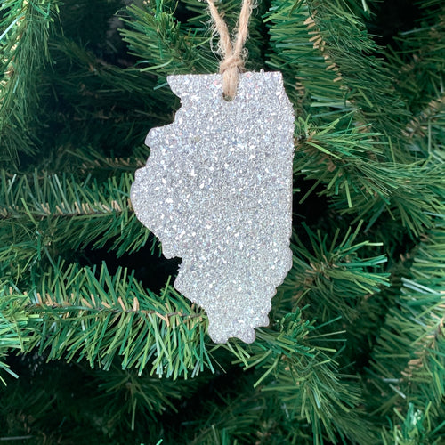 Illinois Glass Glitter Ornament