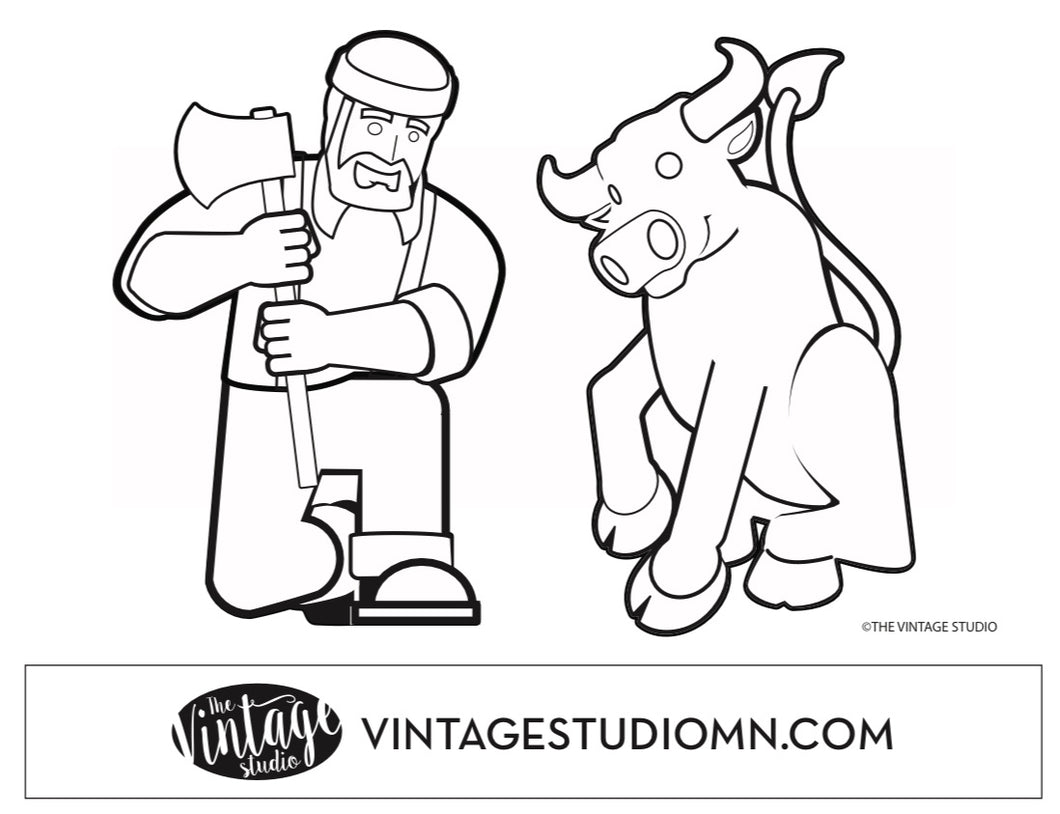 FREE Paul Bunyan and Babe the Blue Ox Posed Coloring Page