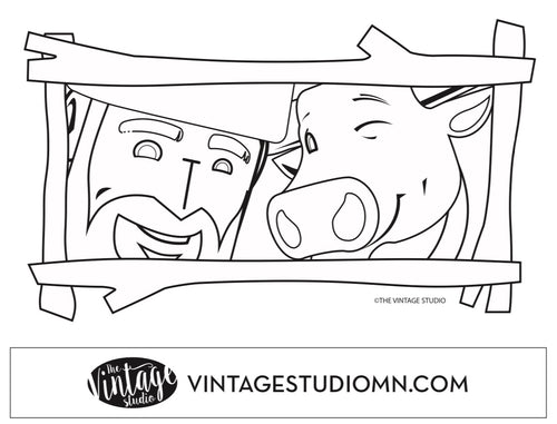FREE Paul Bunyan and Babe the Blue Ox Framed Coloring Page
