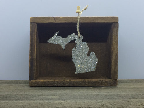 Michigan Glass Glitter Ornament