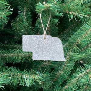 Nebraska Glass Glitter Ornament
