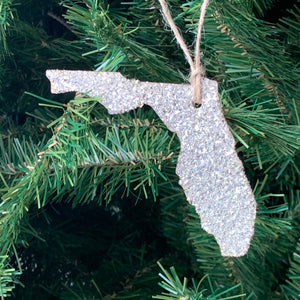 Florida Glass Glitter Ornament