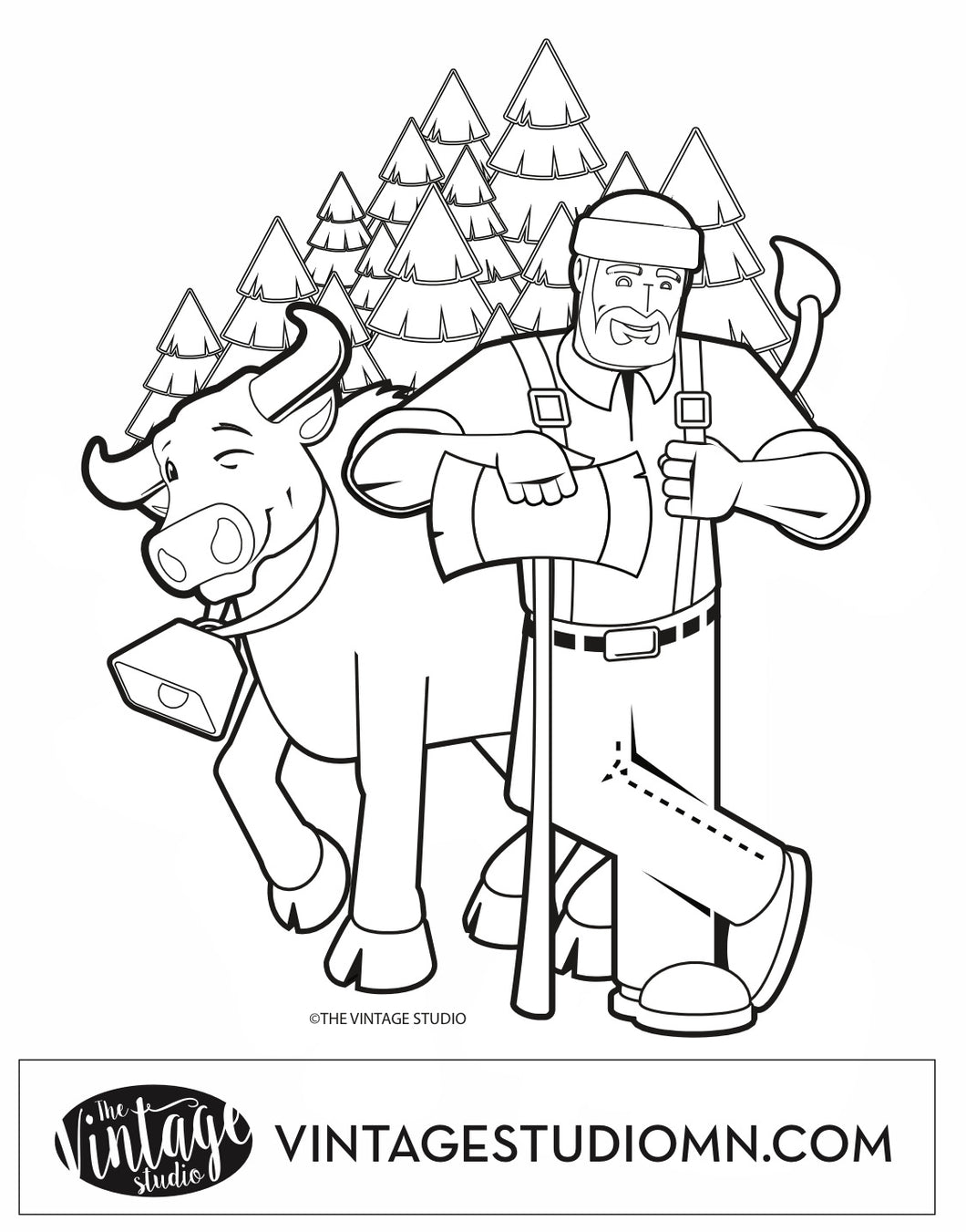 FREE Paul Bunyan and Babe the Blue Ox North Woods Coloring Page