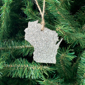 Wisconsin Glass Glitter Ornament