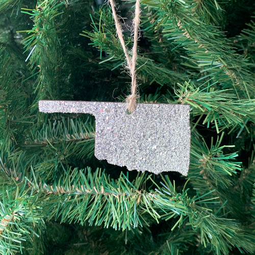 Oklahoma Glass Glitter Ornament