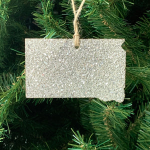 South Dakota Glass Glitter Ornament