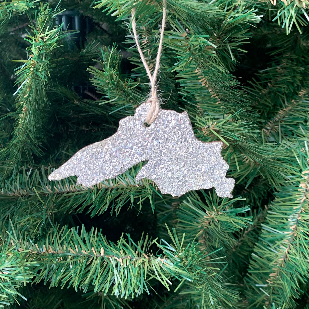 Lake Superior Glass Glitter Ornament