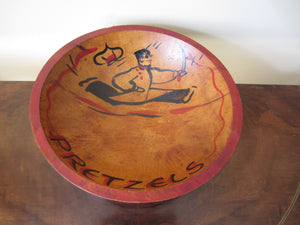 Vintage Wood Pretzels Bowl