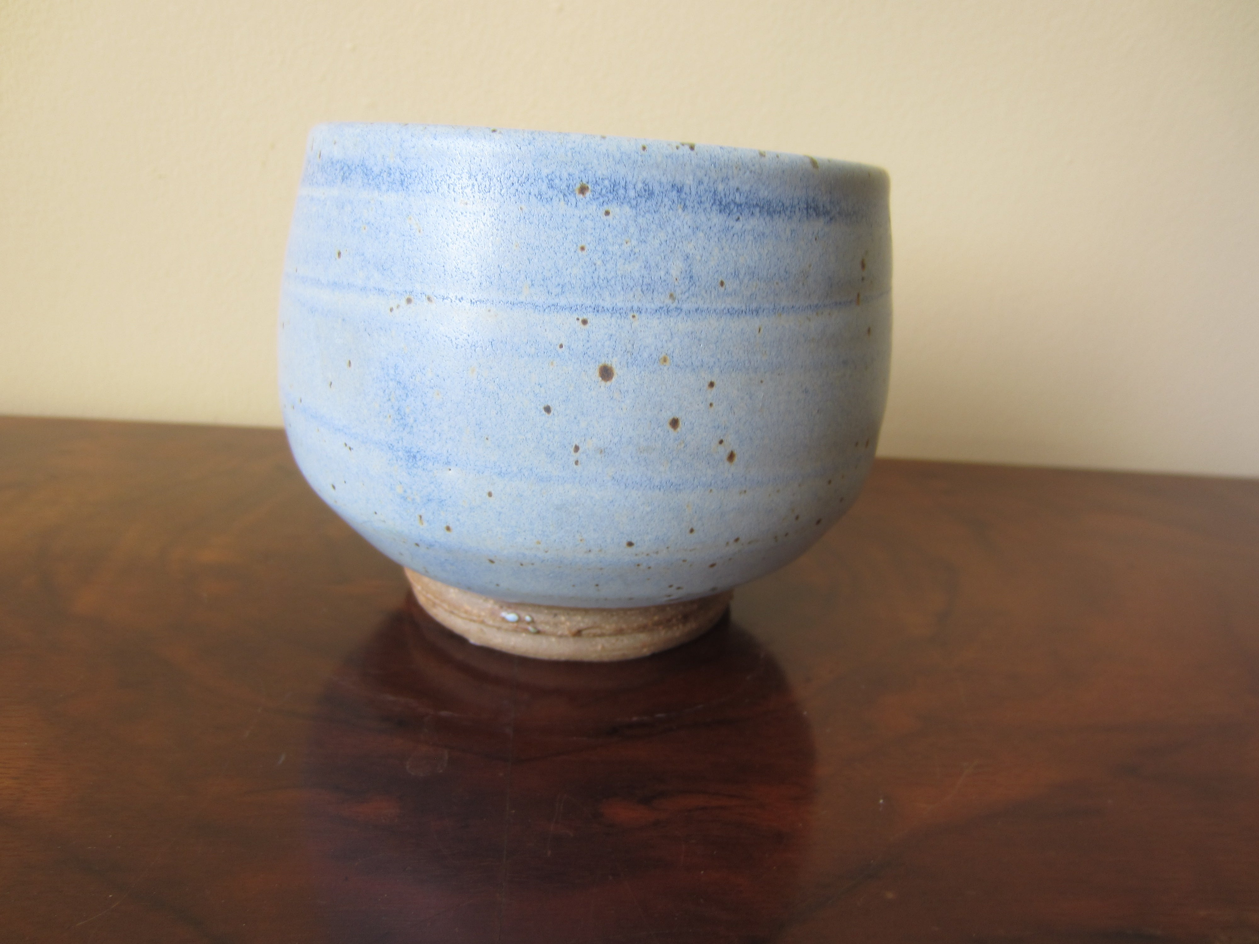 Mid Century Modern Pottery Blue Bowl