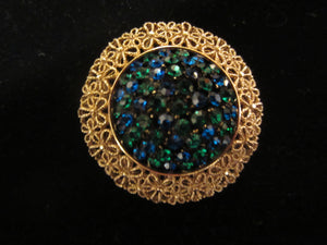 Vintage Signed Karu Arke Gold Tone Filigree and Crystal Pin