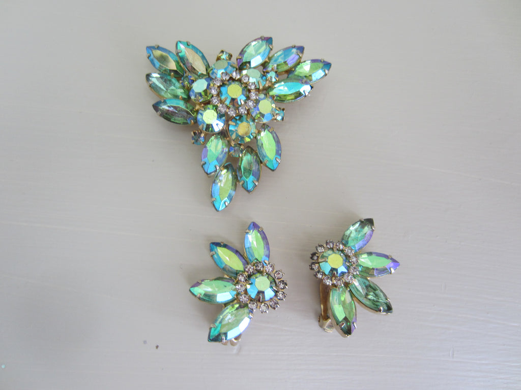 Vintage Aurora Borealis Pin & (clip) Earrings Set