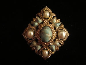 1968 Sarah Coventry Rememberance Turquoise Pin and Earrings Set
