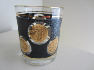Black and Gold Mid Century Modern Barware Glass Set