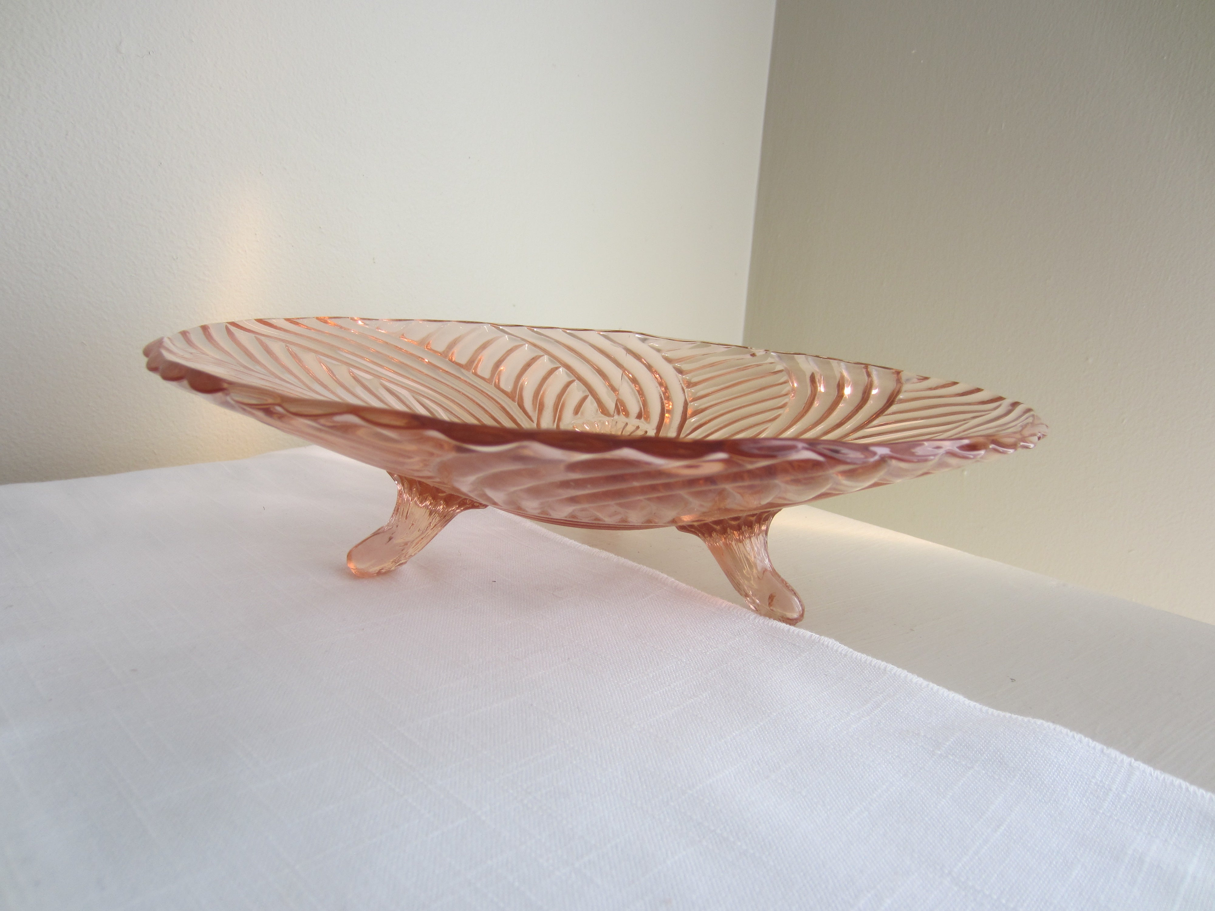 Pink Depression Glass Footed Shallow Bowl