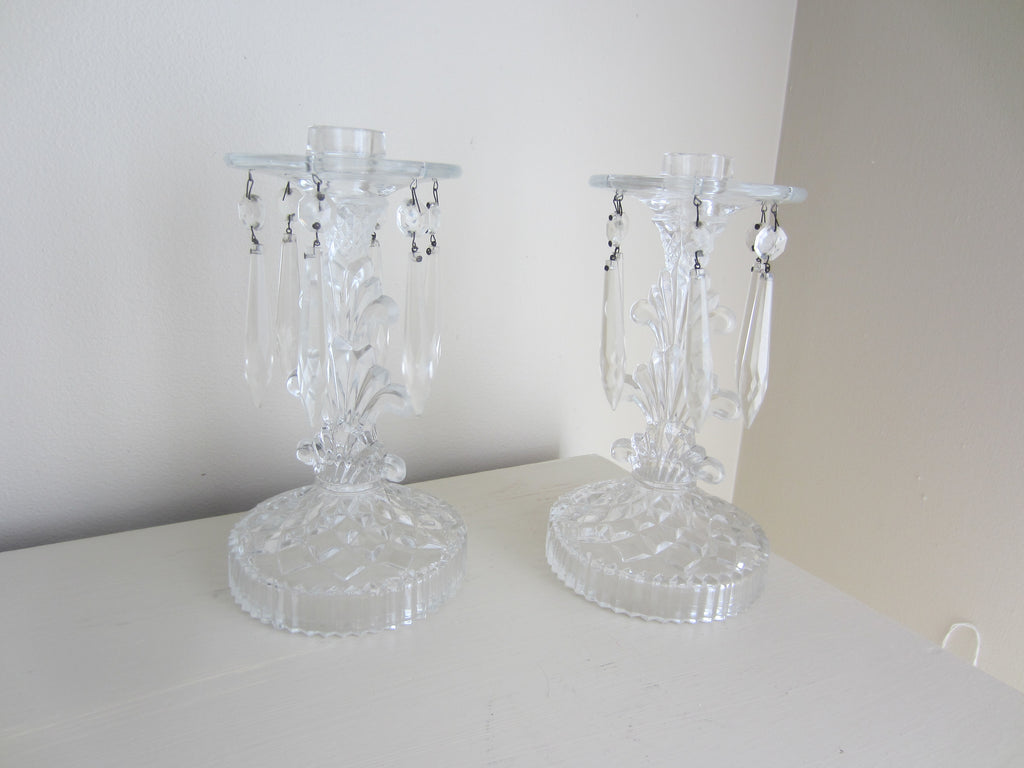 Pair of Clear Glass Lustres Taper Candle Holders with Crystals