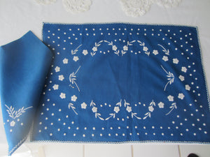 Navy Blue Embroidered Table Setting for (4)