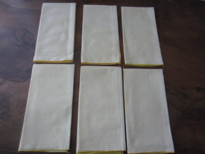 (6) Vintage Yellow Cotton Check Pattern Napkins