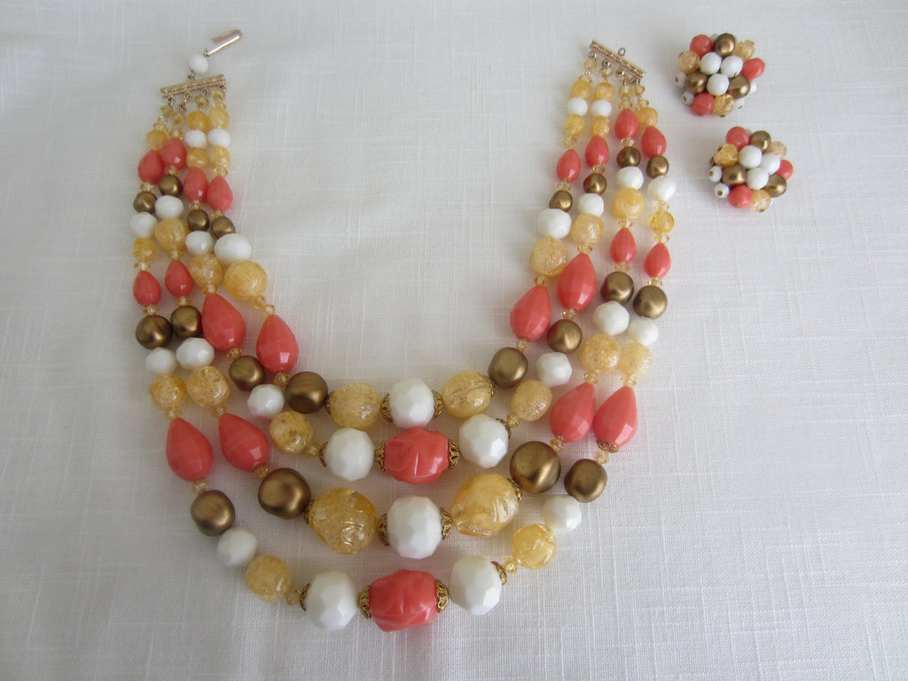 Vintage Multi Strand Beaded Necklace and Earrings Set