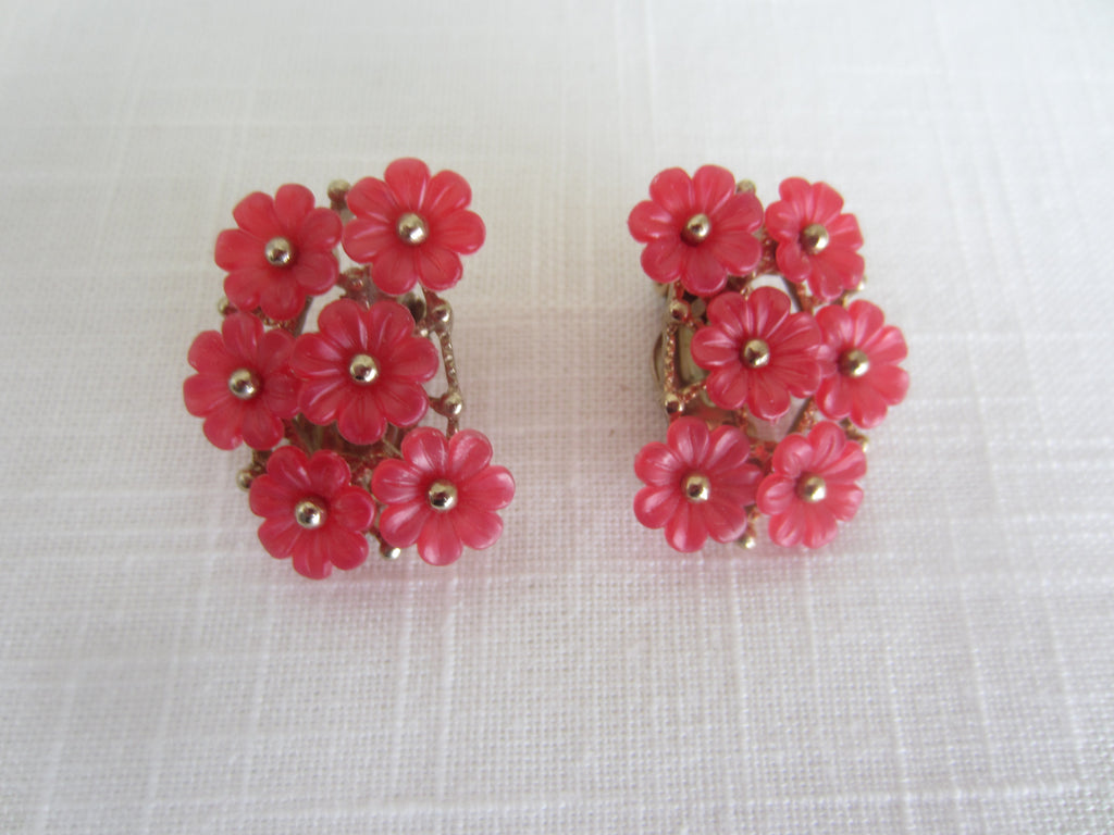 Whimsical Vintage Plastic Pink Floral Earrings