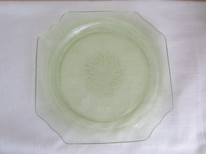 Large Green Depression Glass Square Dish