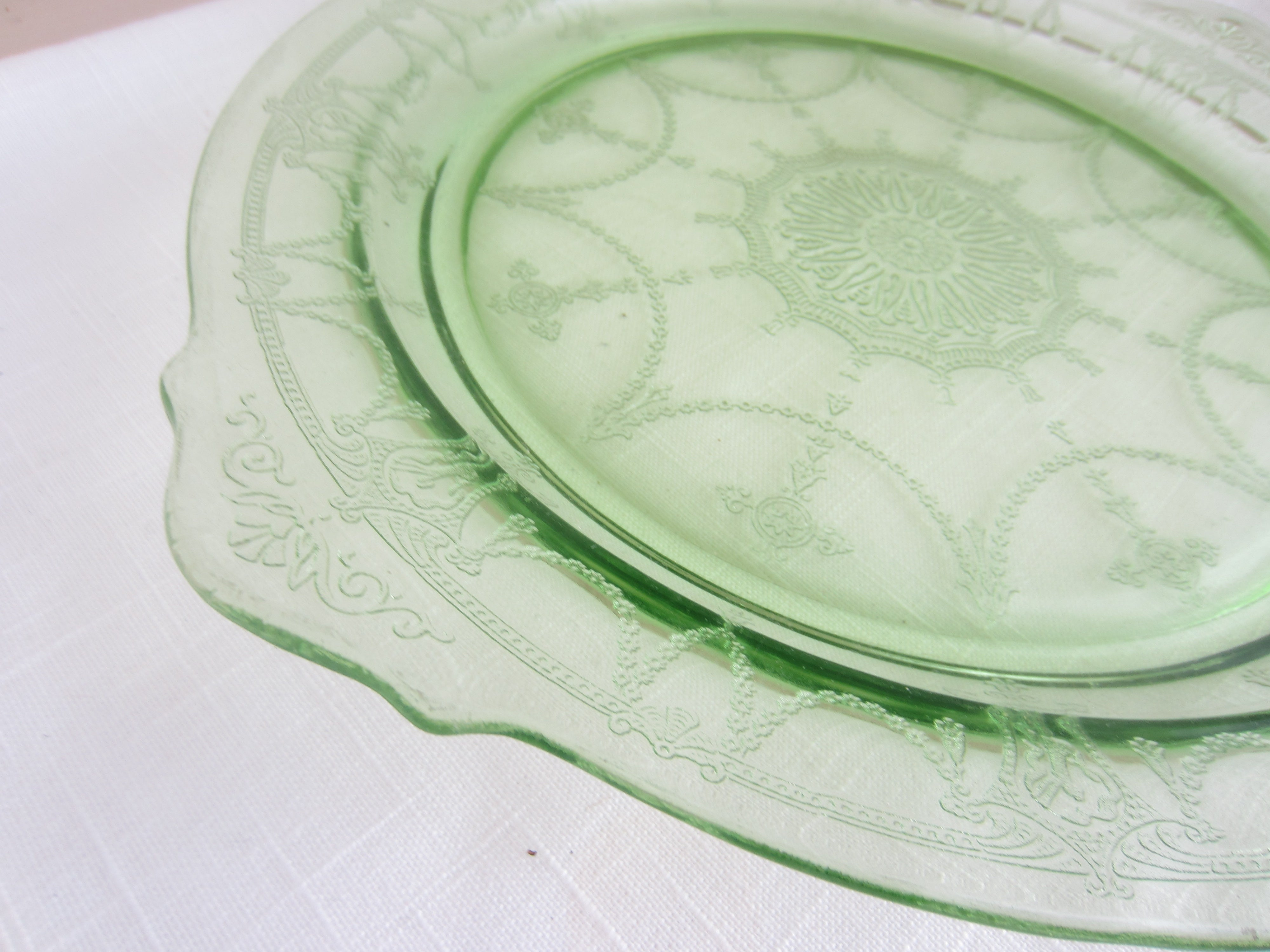 Large Green Depression Glass Round Serving Dish