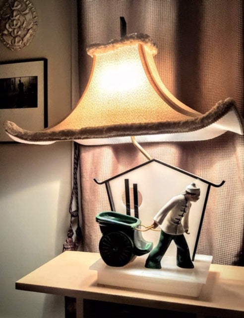 PAIR of Vintage Moss Lamps with Pagoda Shades